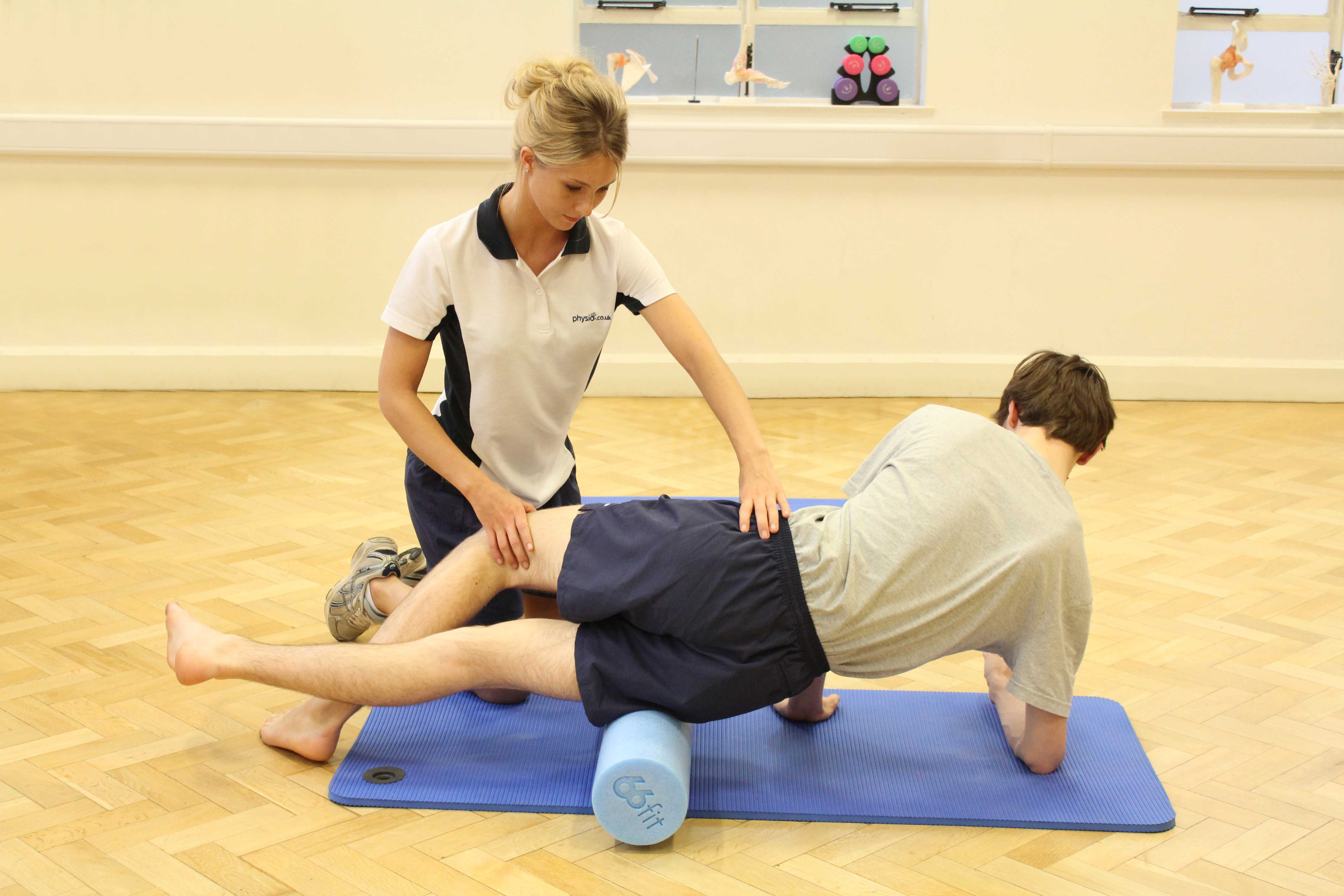 Active stretches and mobilisations of the hip and pelvis with supervision from a MSK therapist