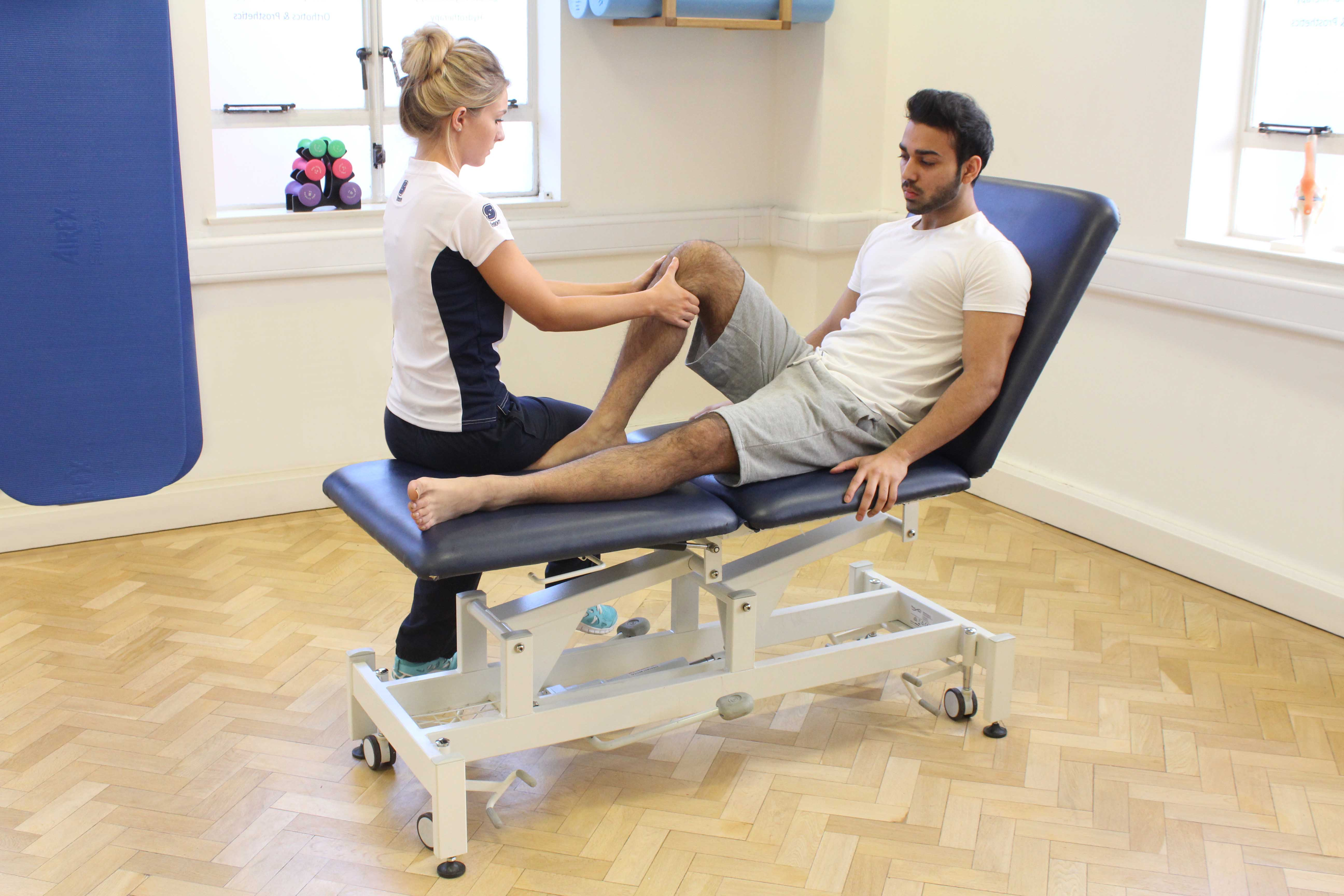 Massage and mobilisations of the joint and connective tissue of the knee