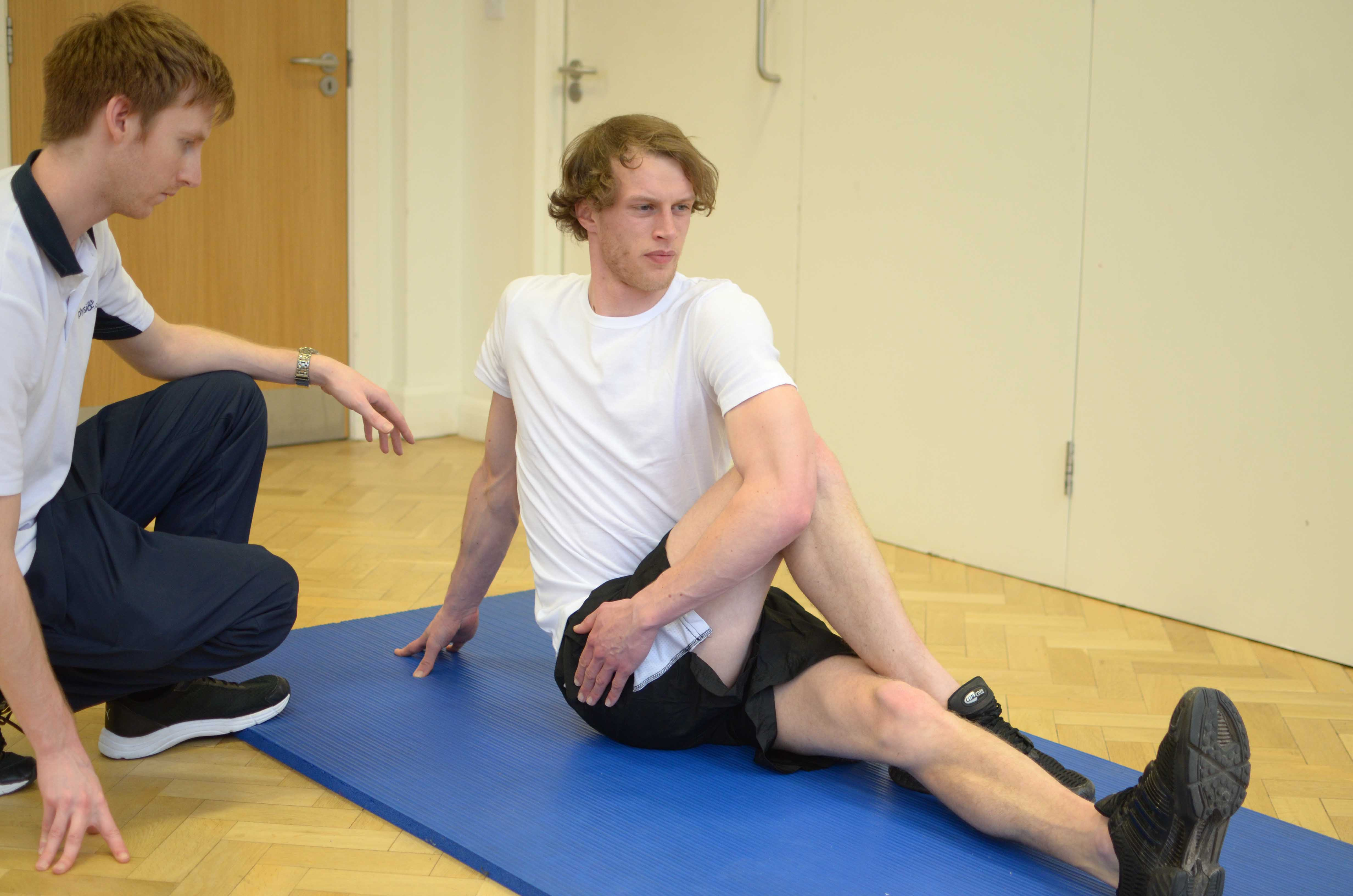 Active stretches to improve range of movement supervised by a physiotherapist
