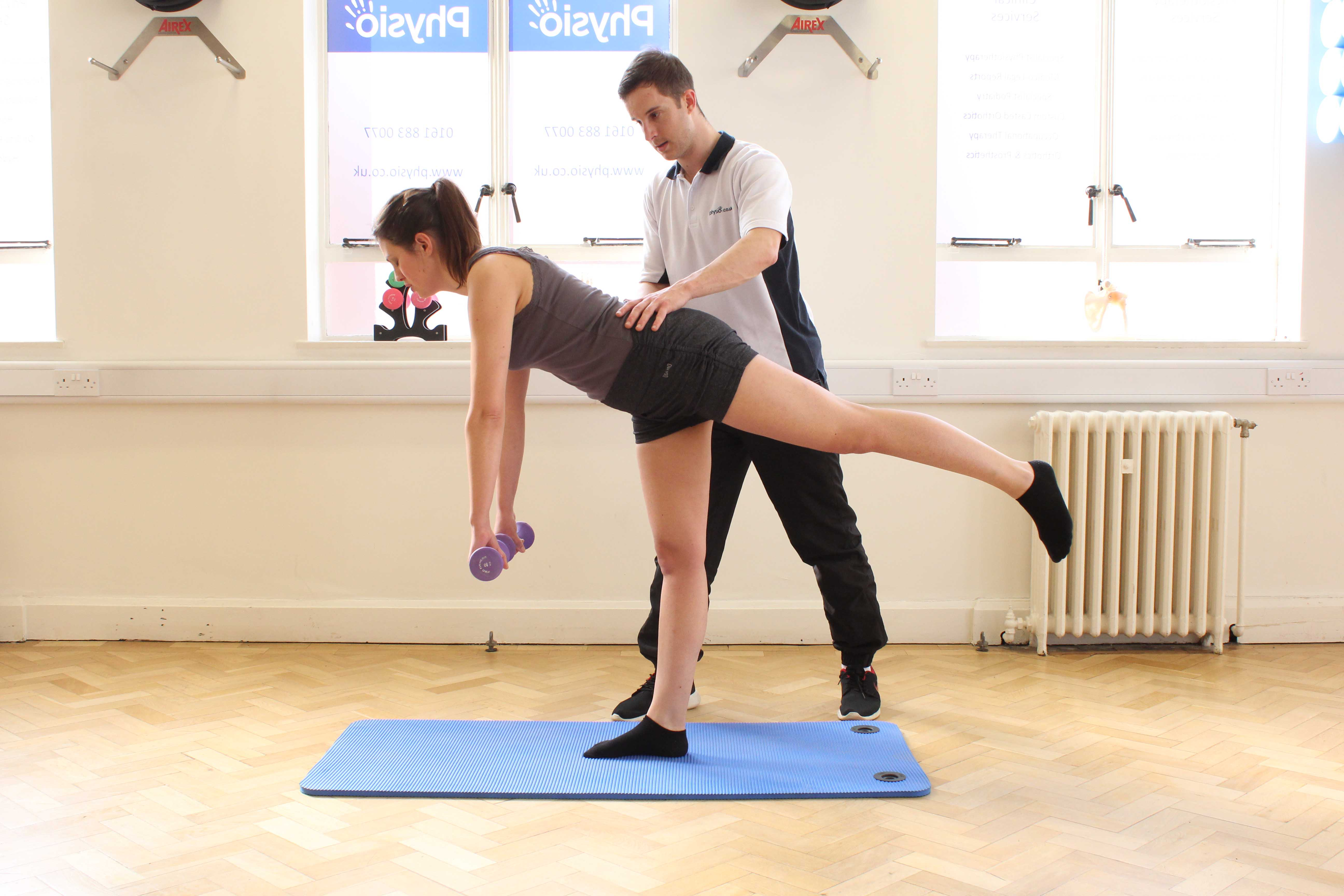 Balance, co-ordination and toning exercises supervised by a physiotherapist