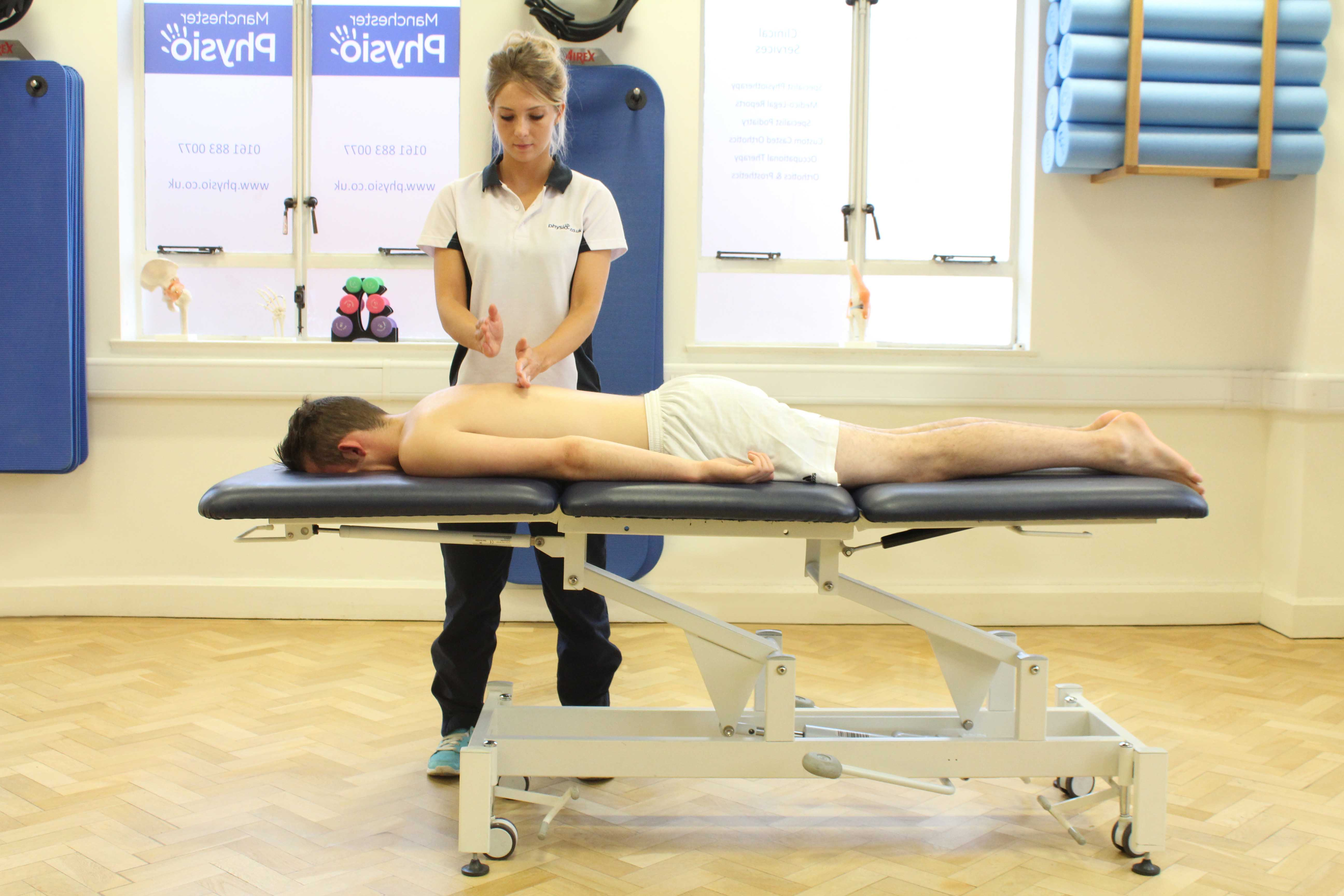 Soft tissue massage of biceps brachii muscle