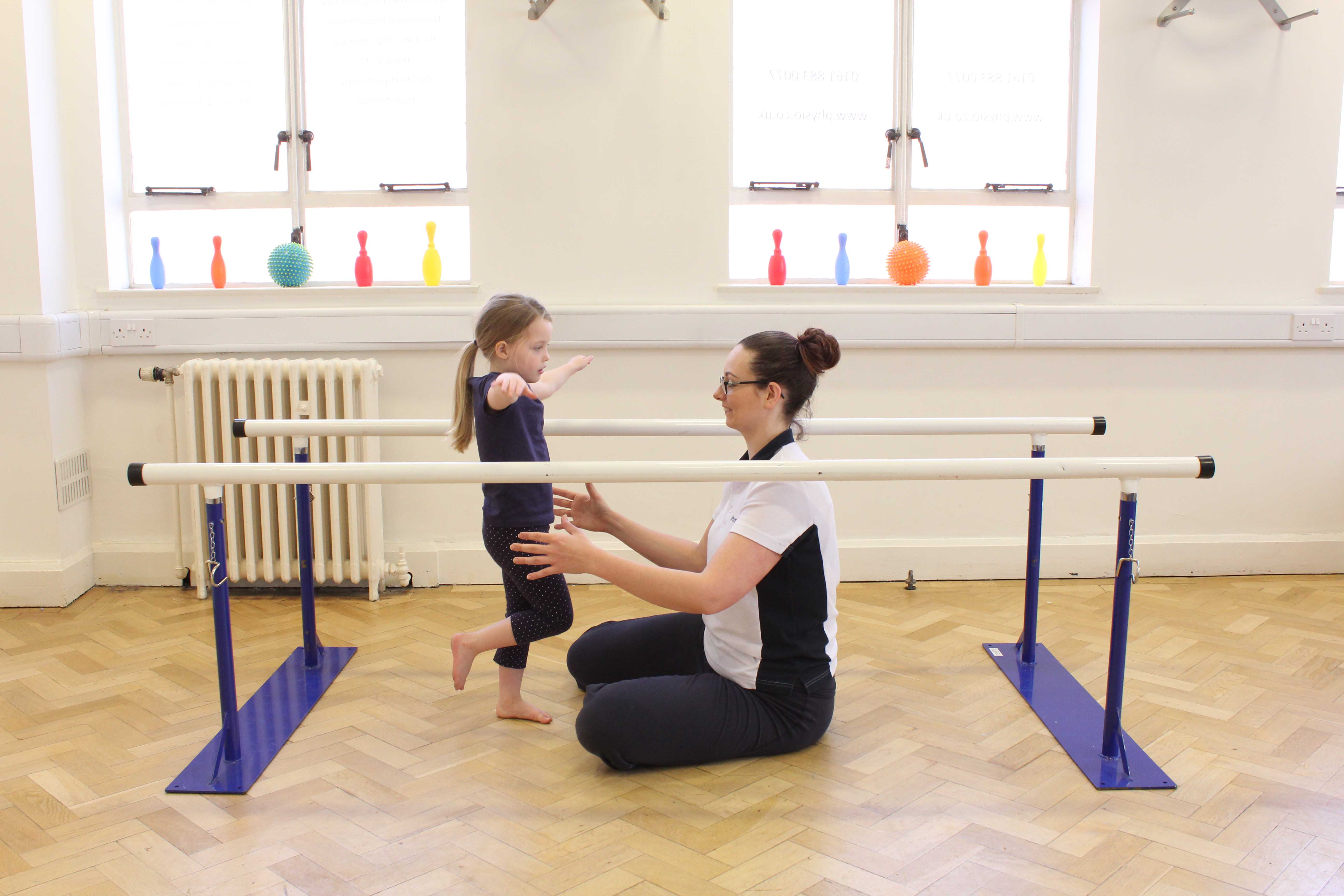 balance and stability exercises supervised by an experienced paediatric physiotherapist