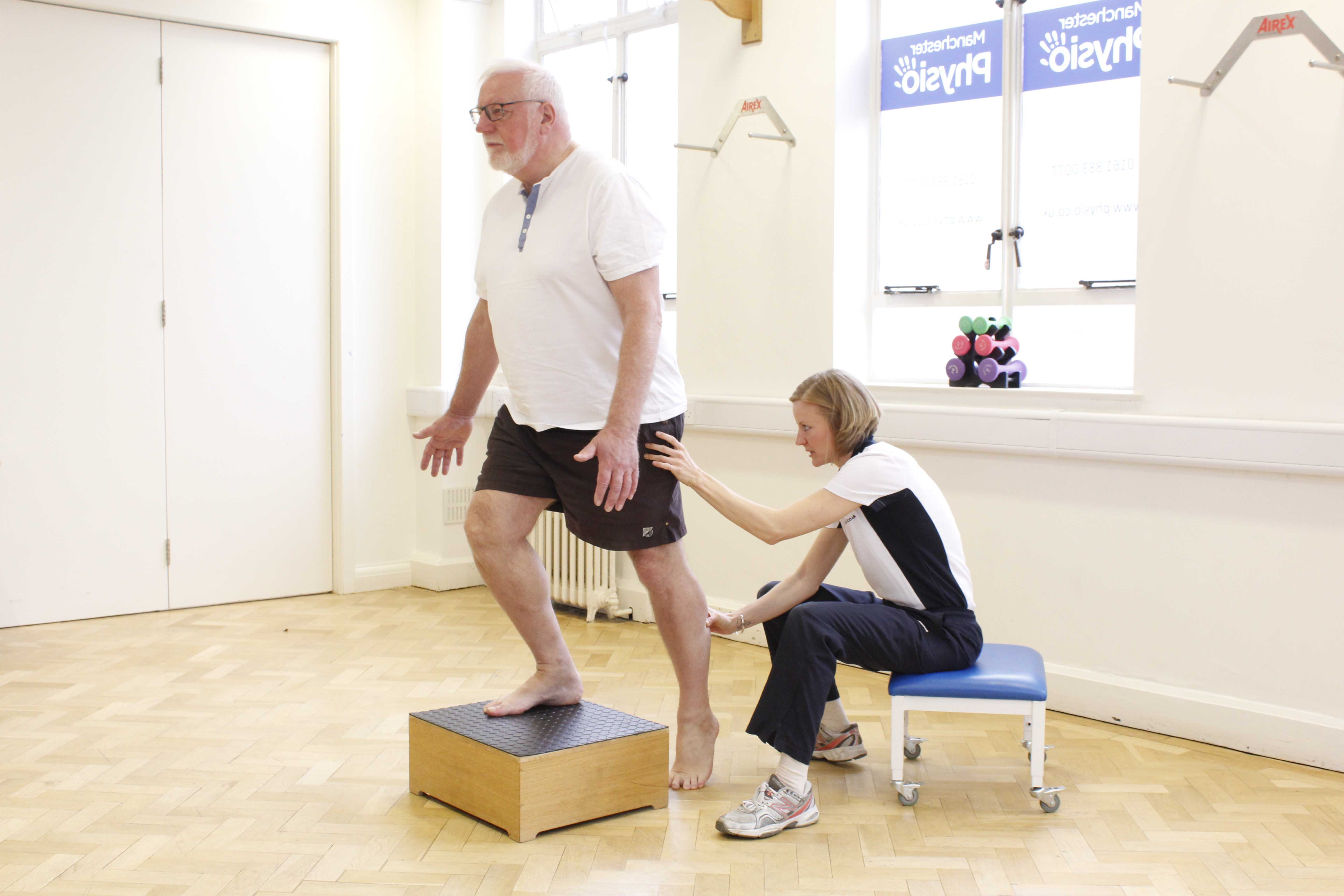 Step ups to develop functional strength and fine motor control of the lower limbs under supervision of a neurological physiotherapist