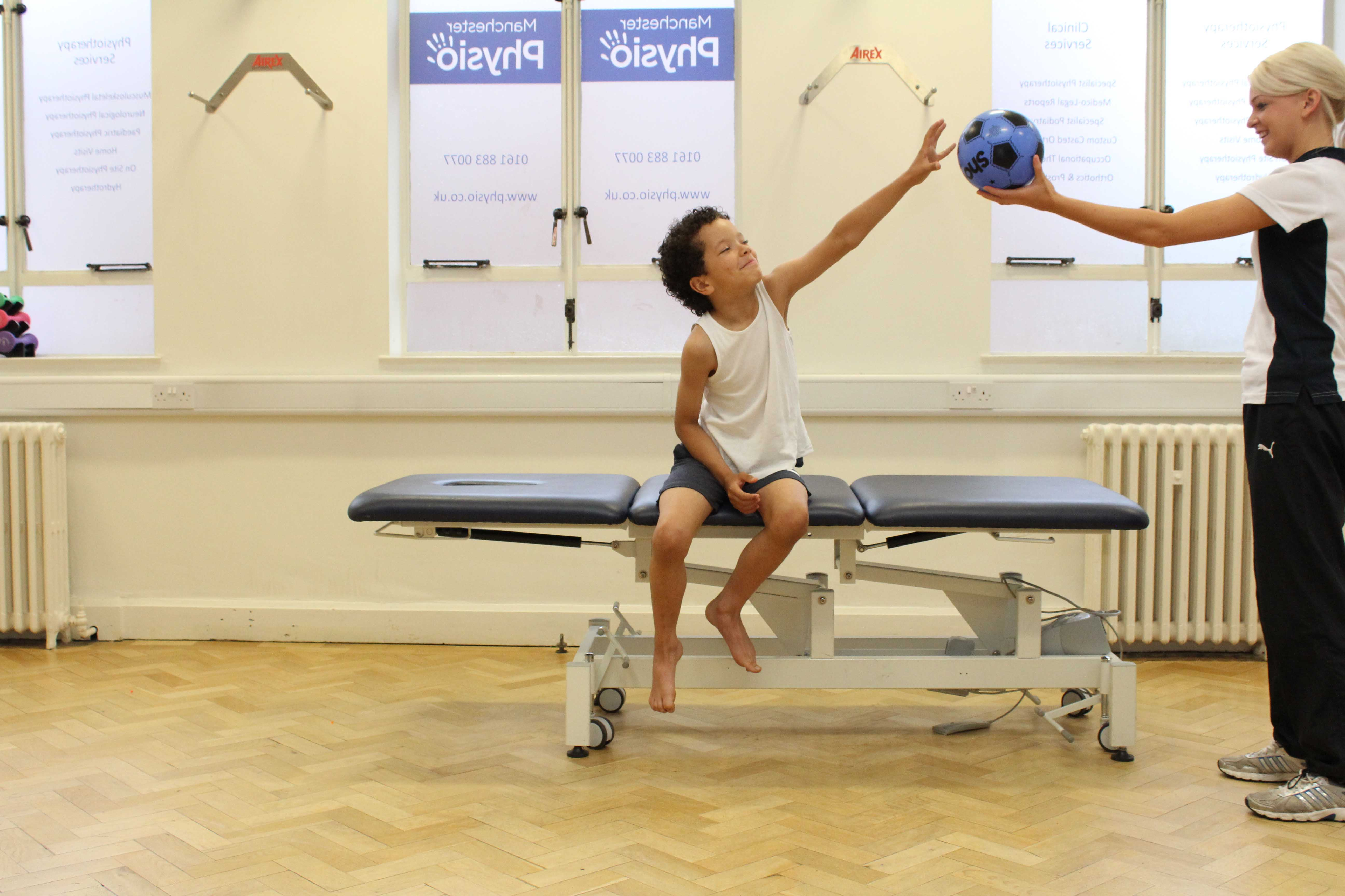 Stability and proprioception exercises conducted by a neurological physiotherapist