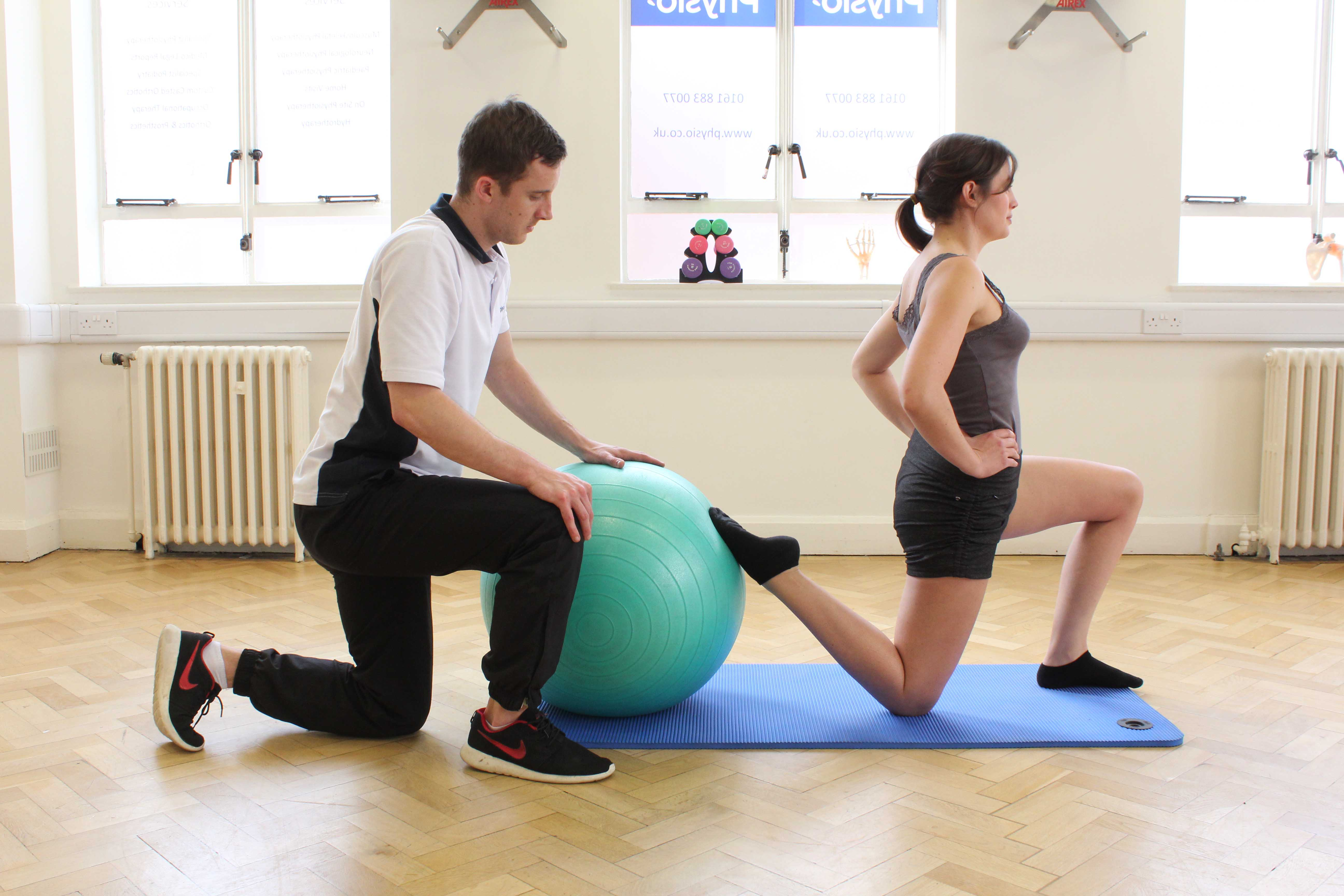 Hip extension flexibility measured with goniometer during assessment by physiotherapist