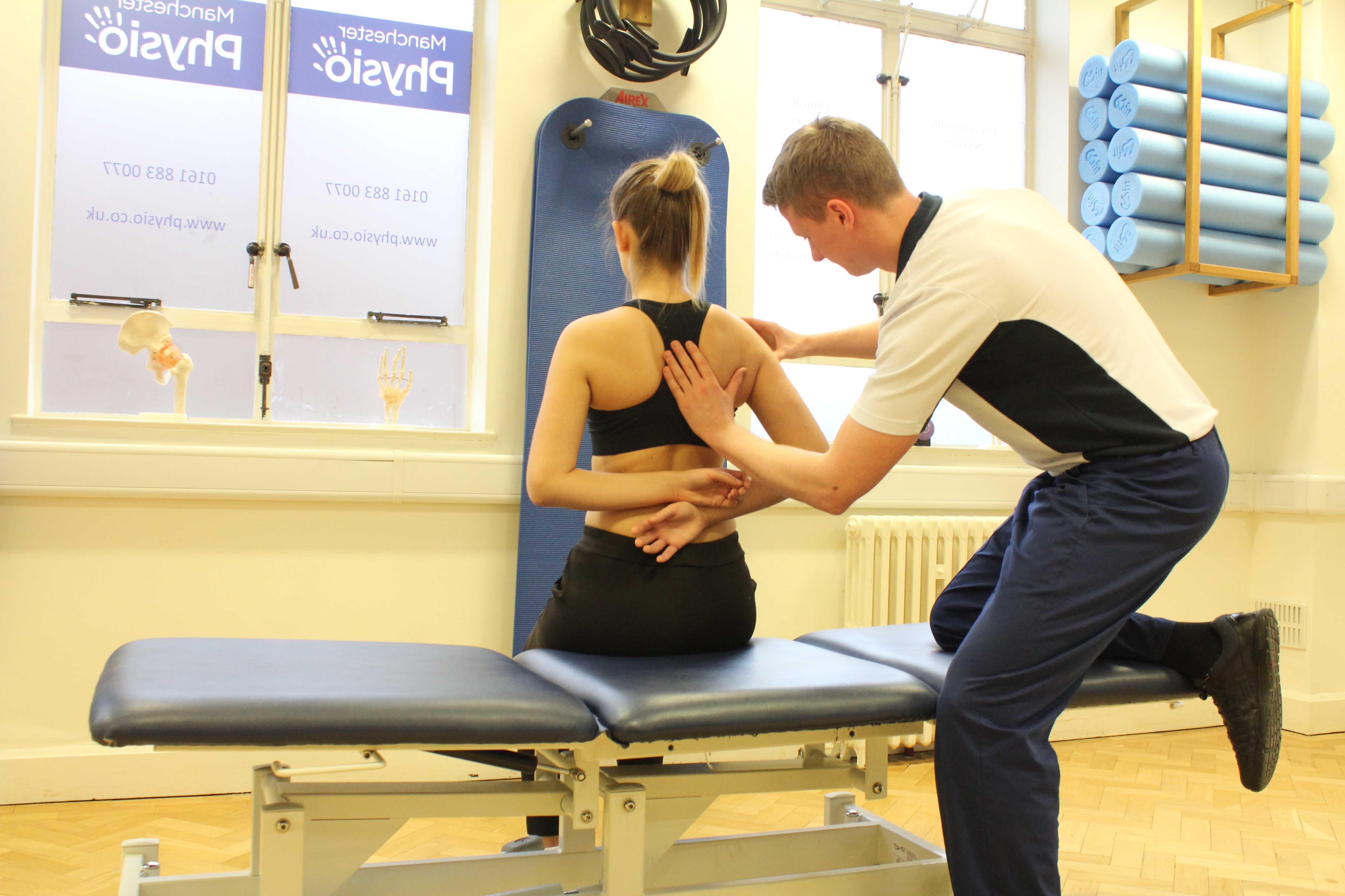 Scapula setting assessment and exercises performed by an experienced physiotherapist