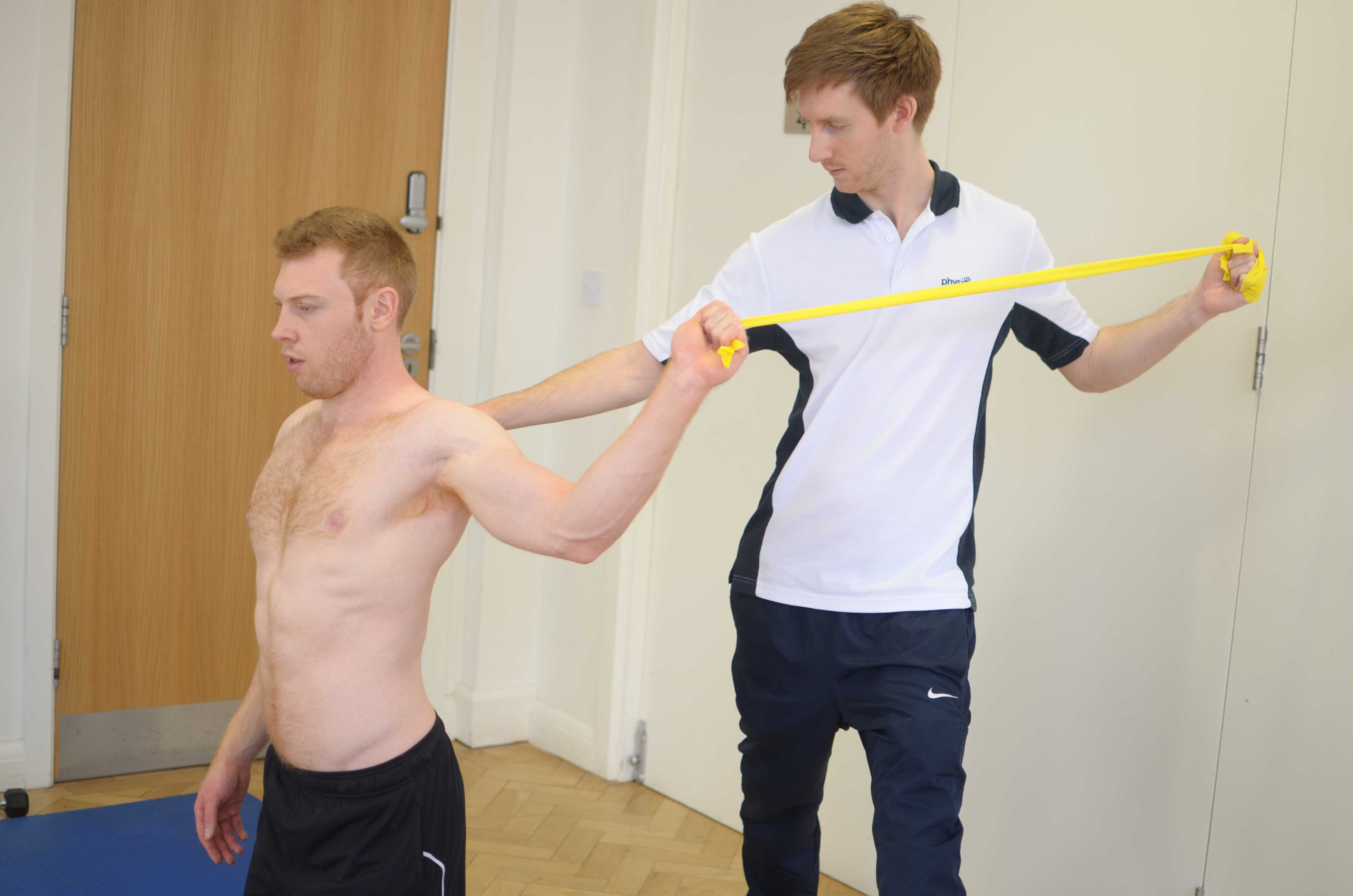 Functional ability exercises assisted by specialist MSK physiotherapist
