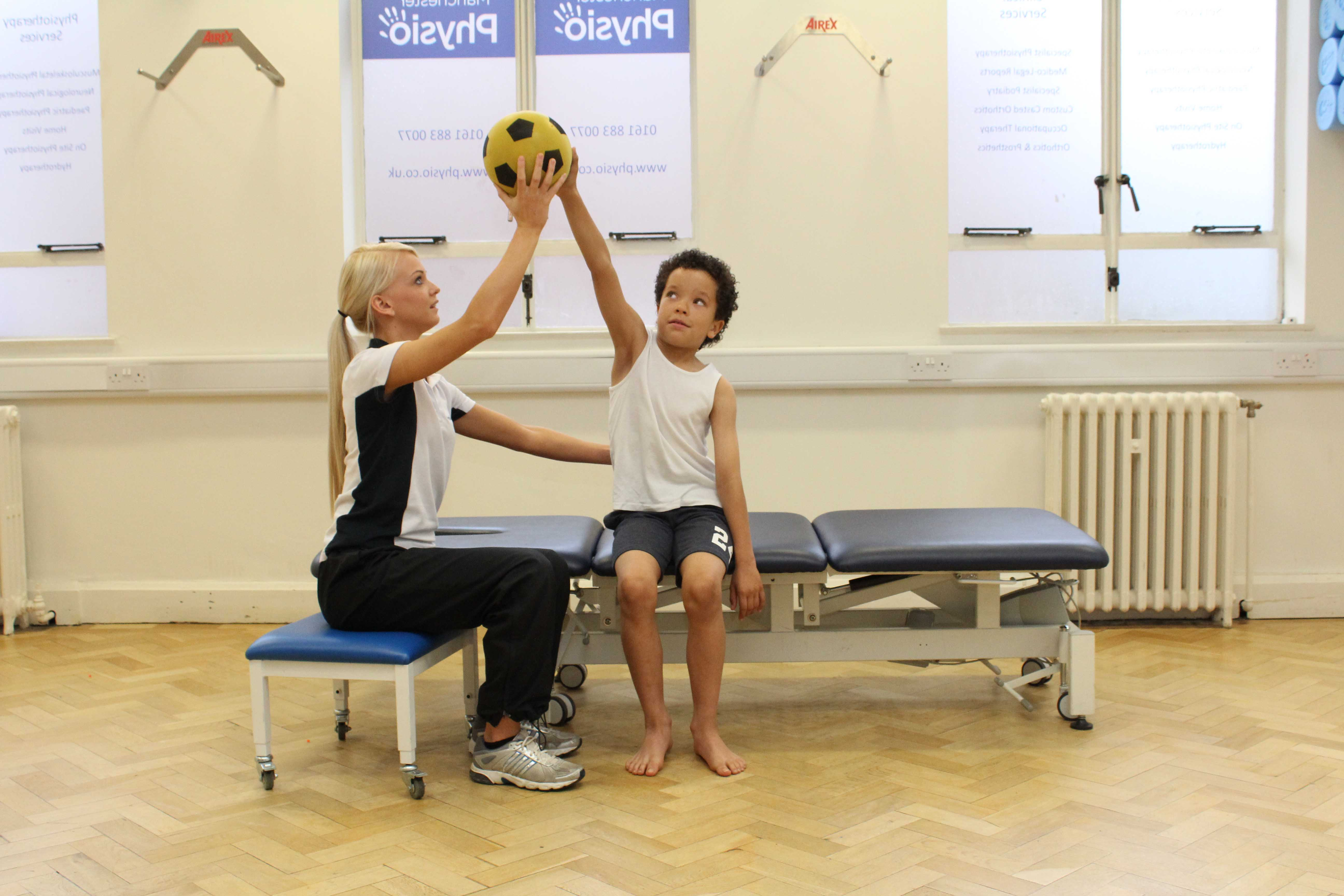 Dynamic strength exercises performed with assistance of paediatric physiotherapist