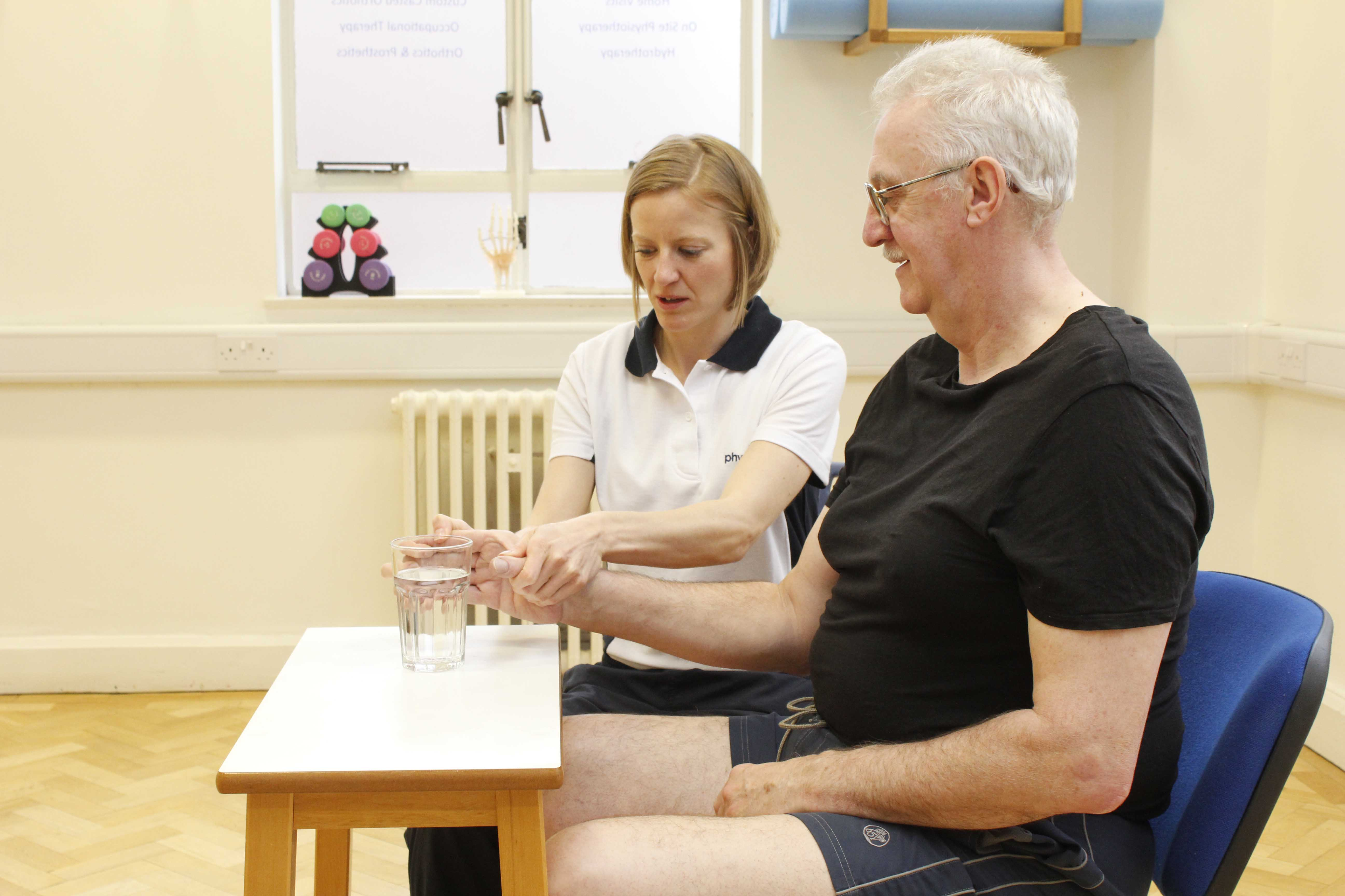 Functional rehabilitation exercises assisted by physiotherapist to regain independence