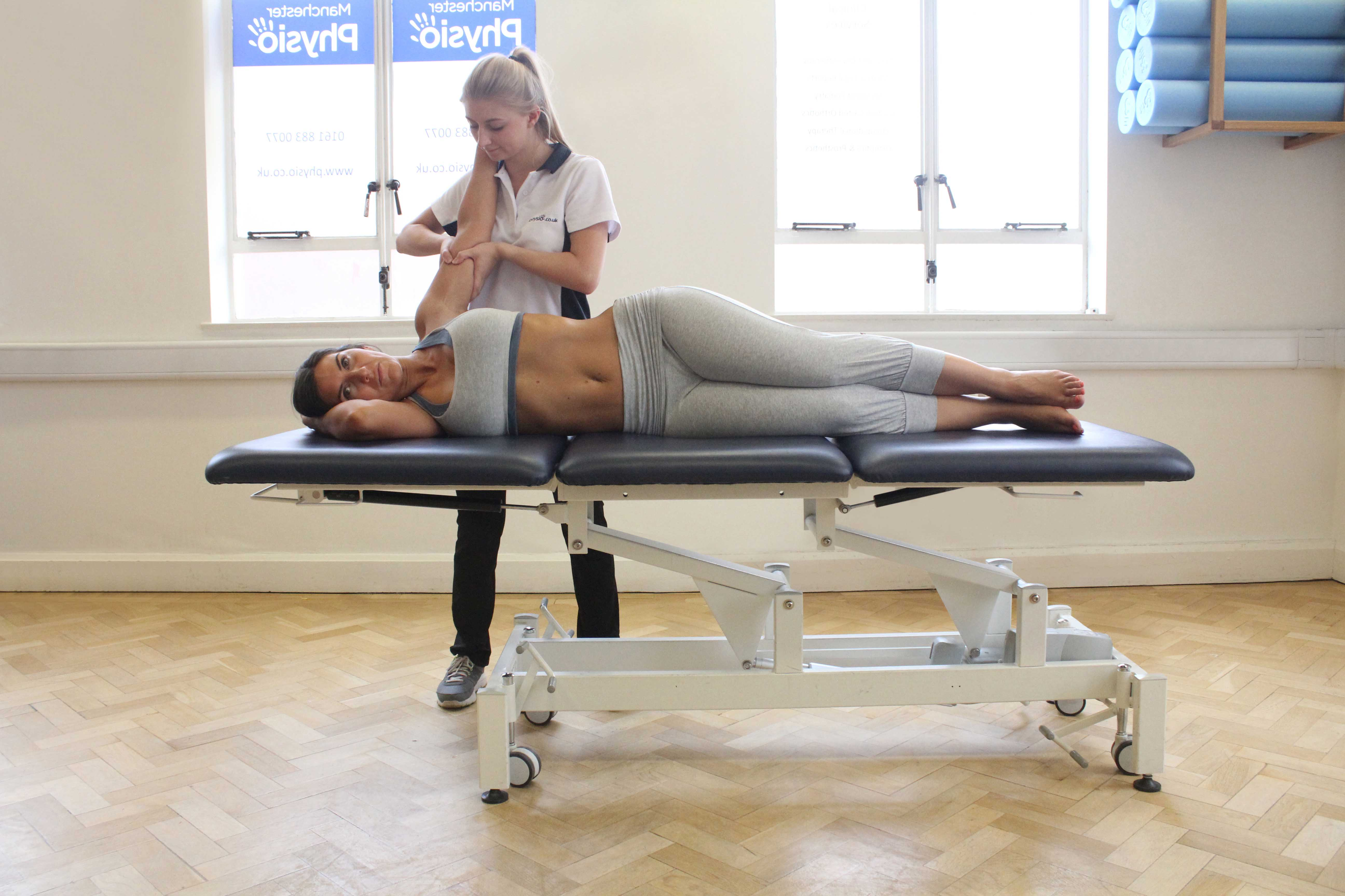 Swedish massage focused on upper limb bicep brachii muscle