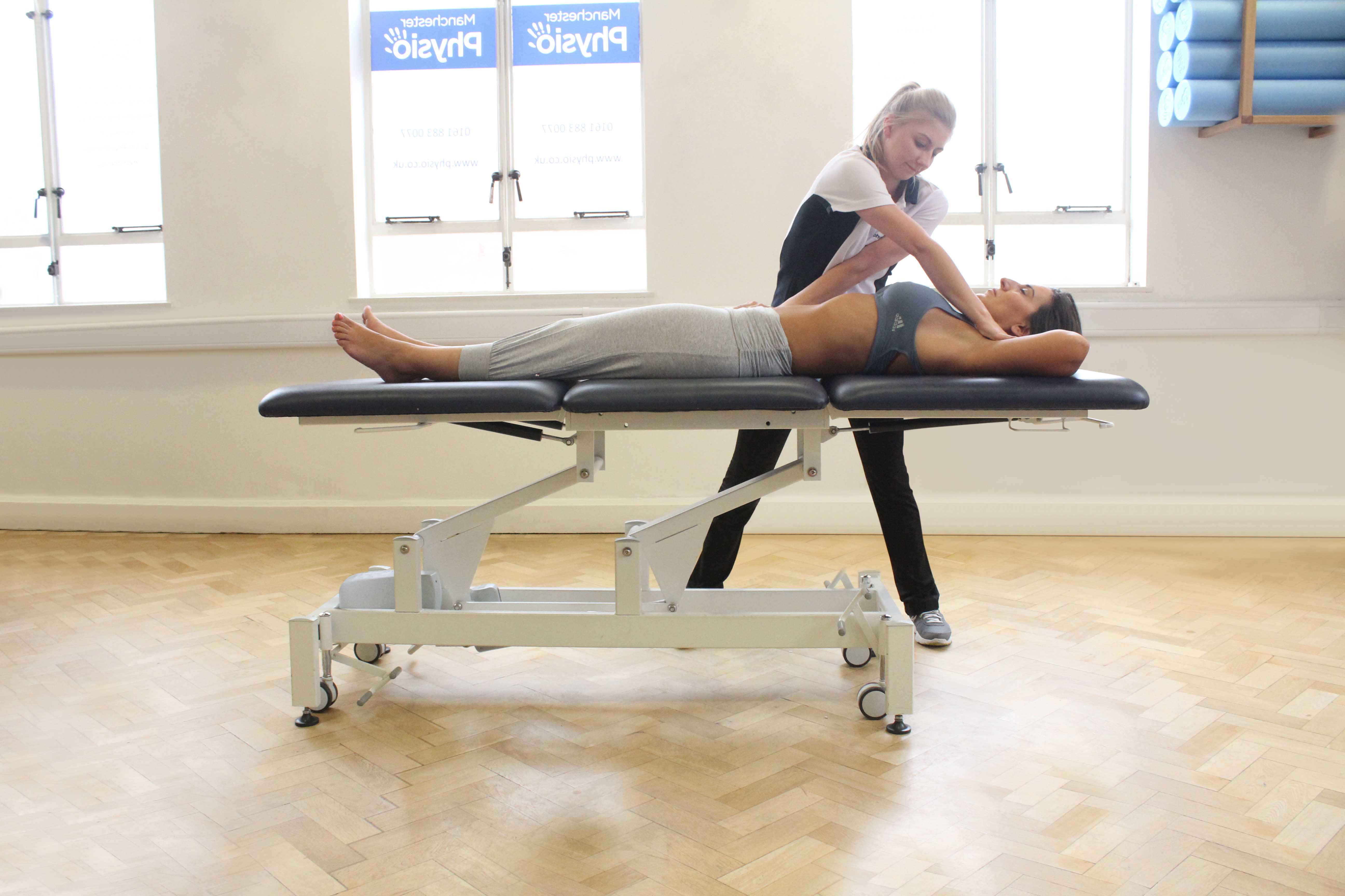 Therapeutic massage focused on biceps femoris and vastus lateralis