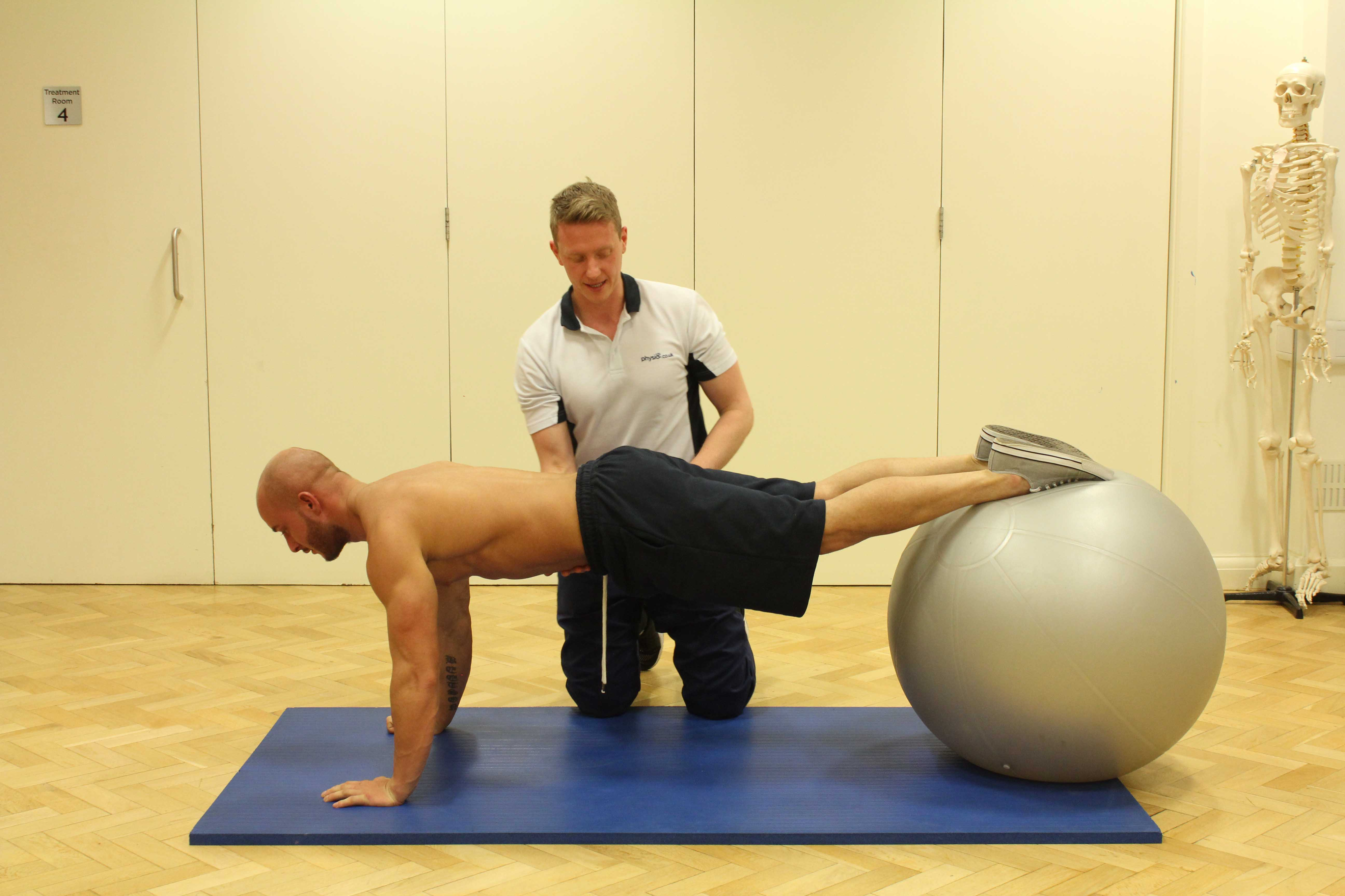 Strengthening exercises fro the chest muscles supervised by MSK Physiotherapist