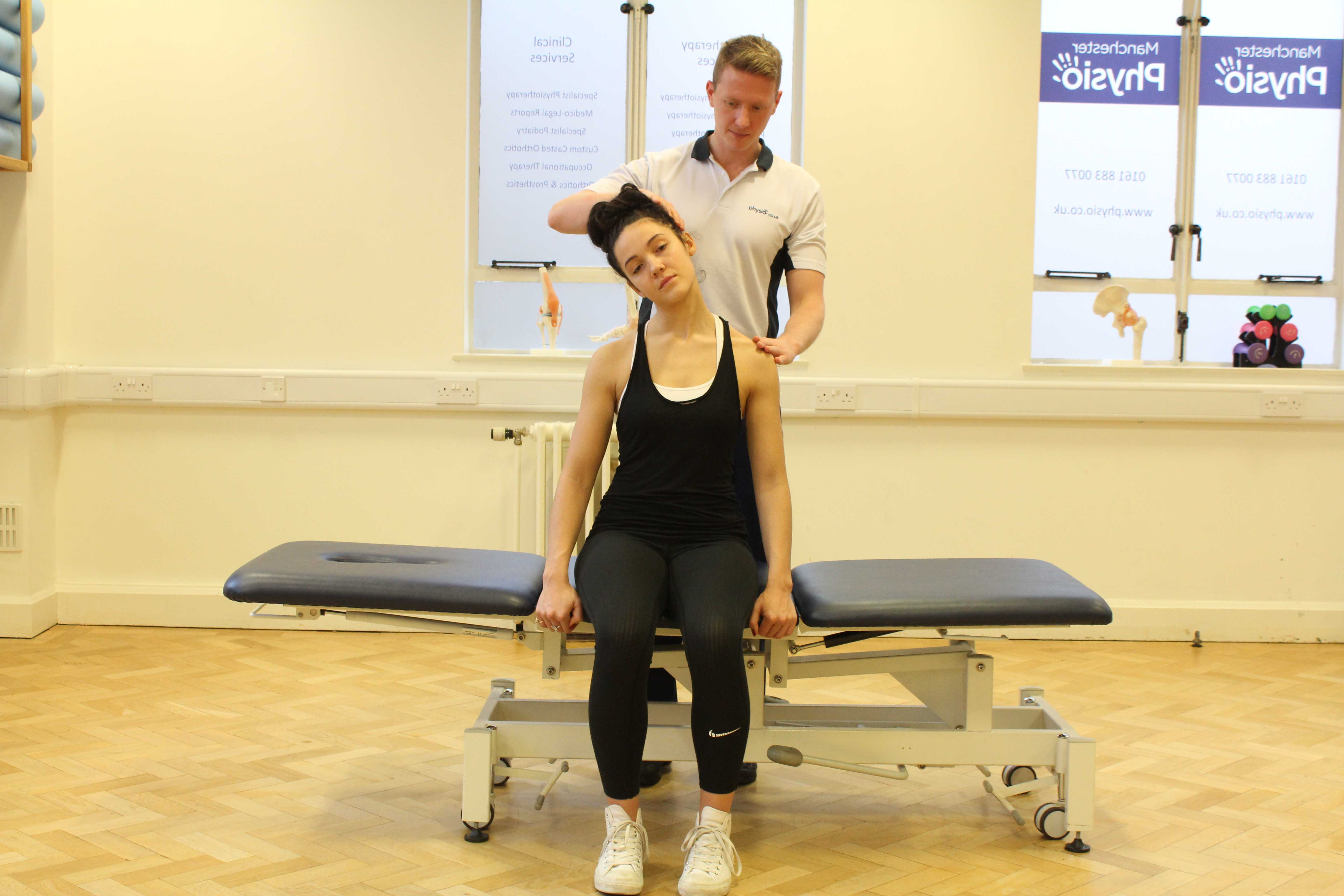 Assessment of the cervical spine, muscles and connective tissues in the neck performed by an experienced Physiotherapist
