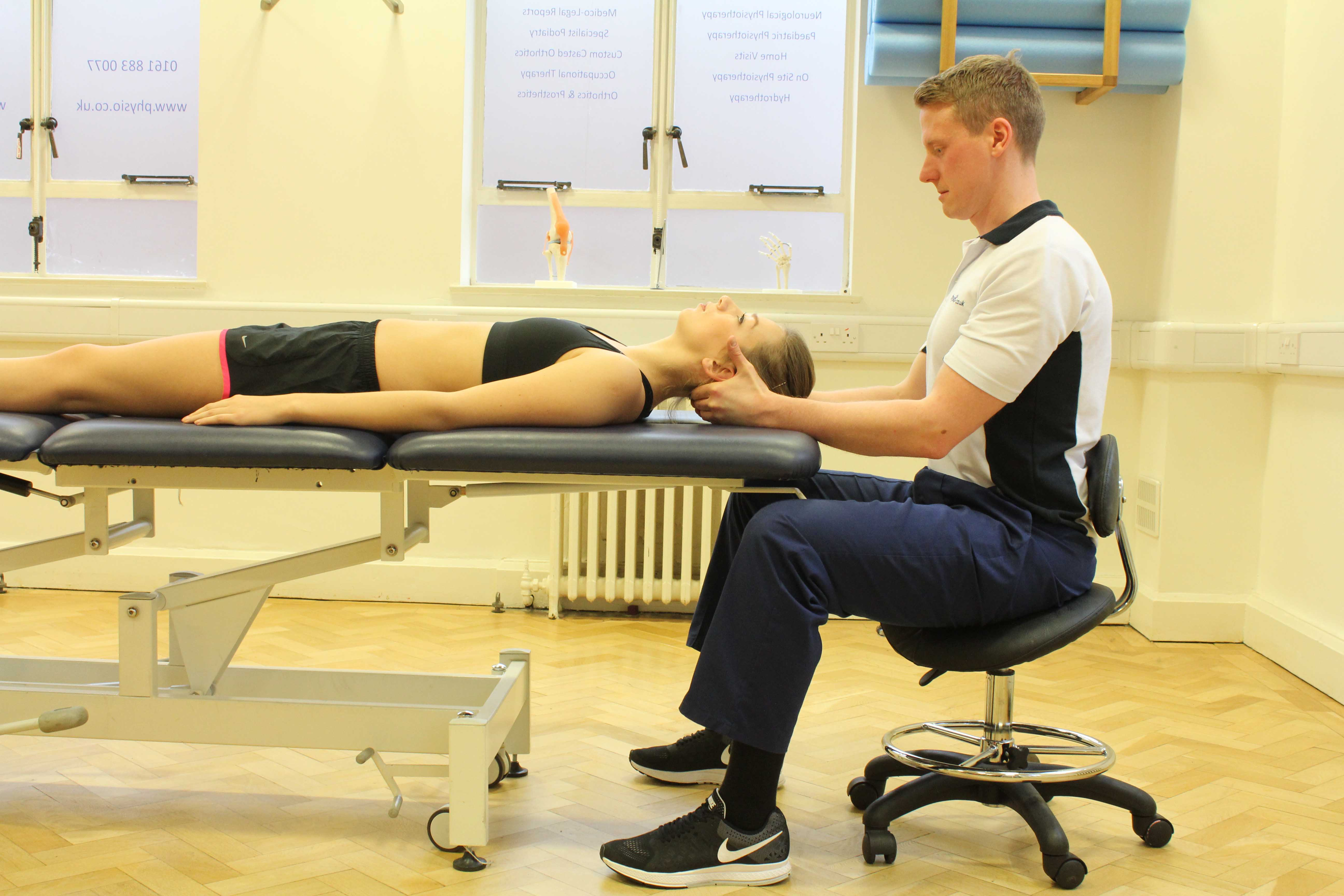 Soft tissue massage and mobilisations of the head, neck and jaw to relieve pain and stiffness