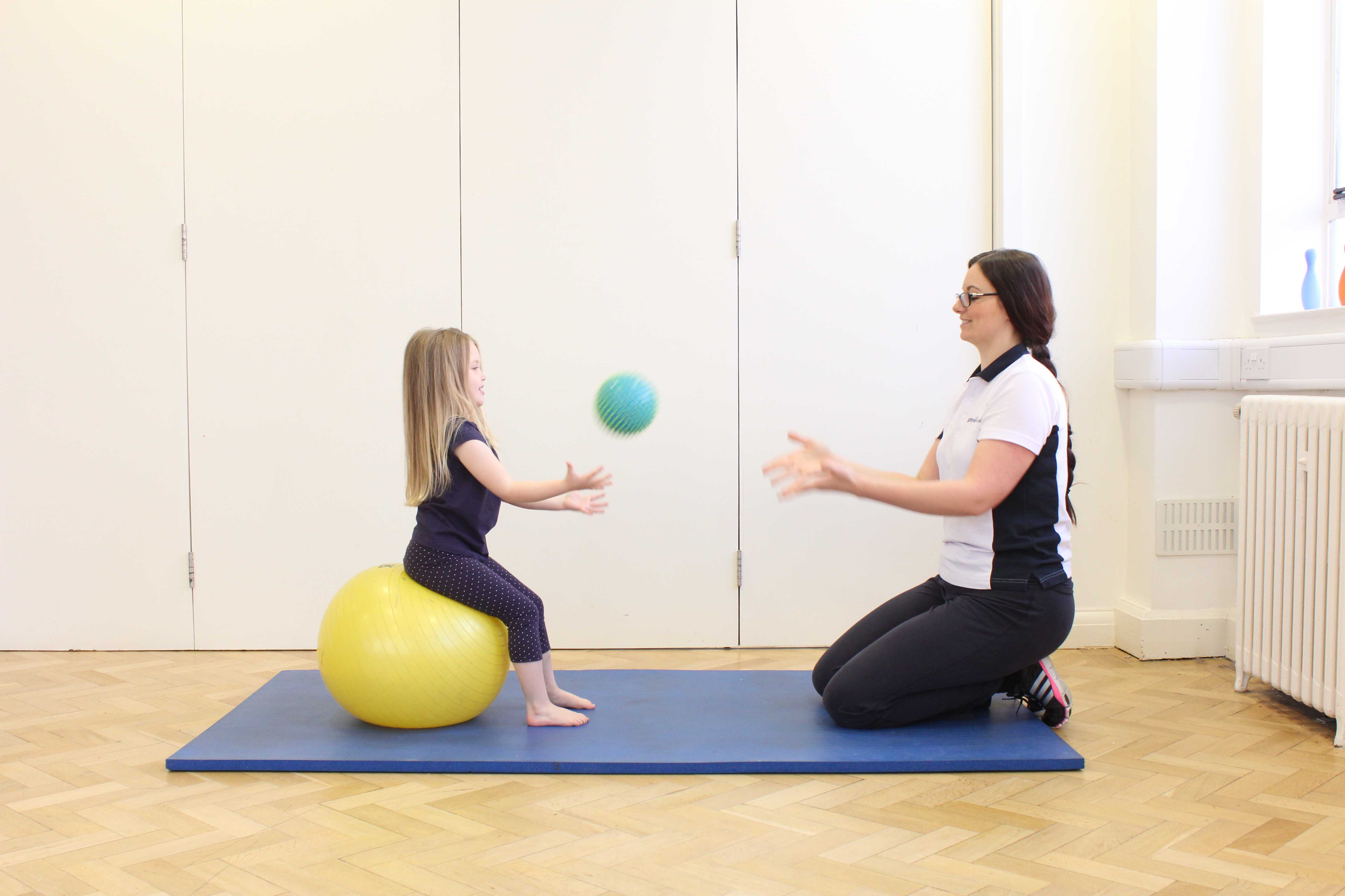 Passive abdominal stretch applied by paediatric physiotherapist