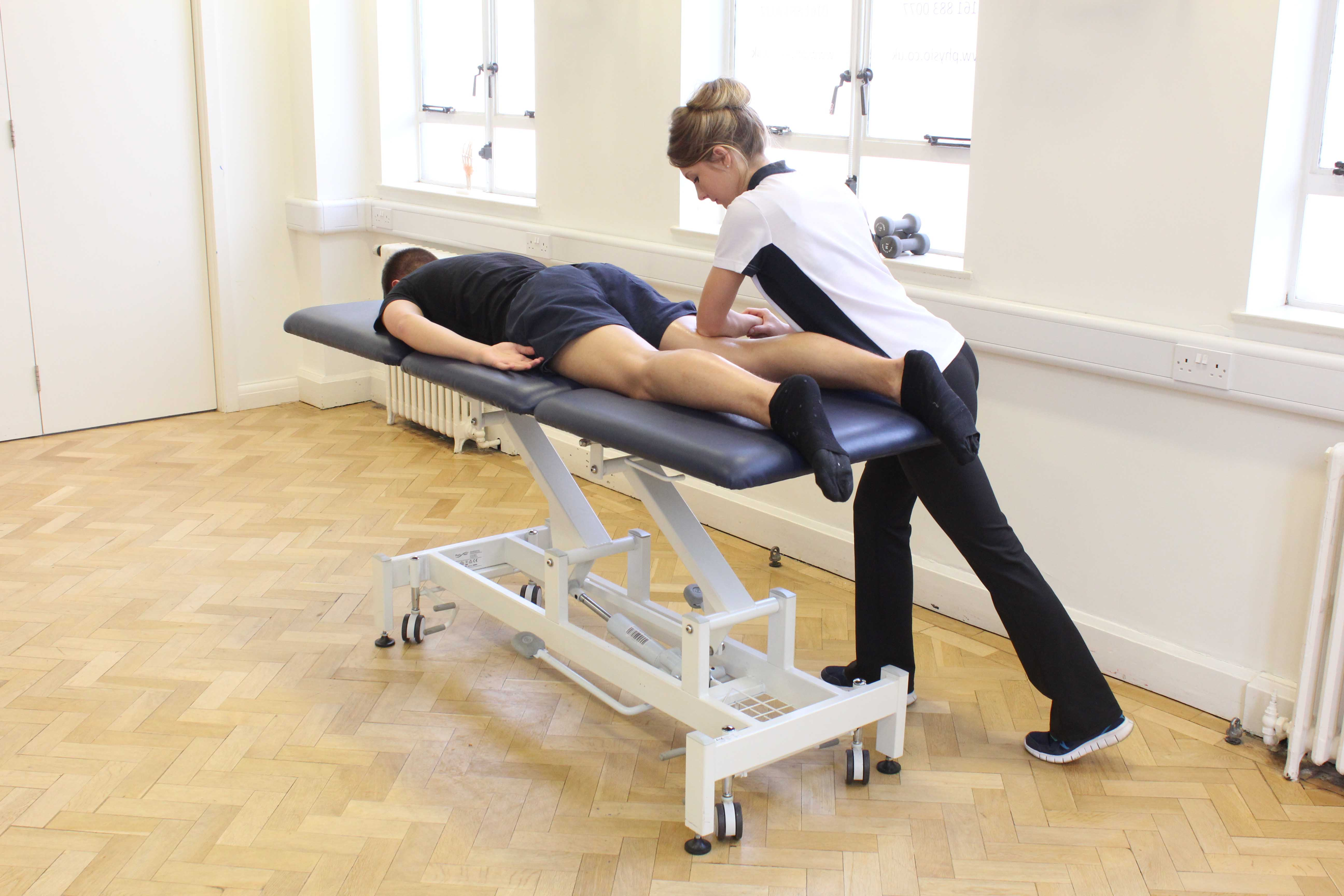 Deep tissue massage of the hamstring muscles by specialist MSK therapist