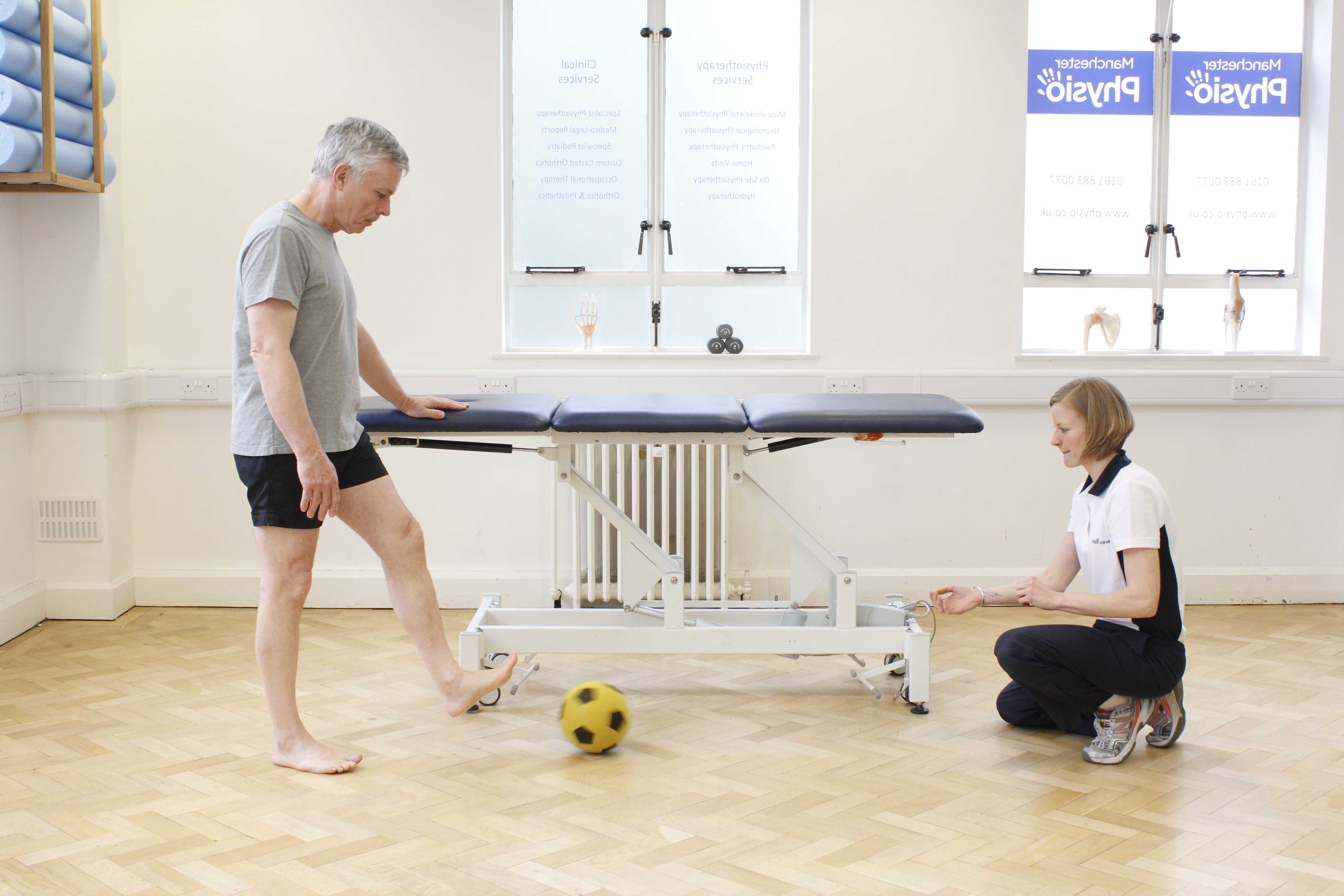 Lower limb co-ordination and muscle tone exercises  supervised by a neurological physiotherapist