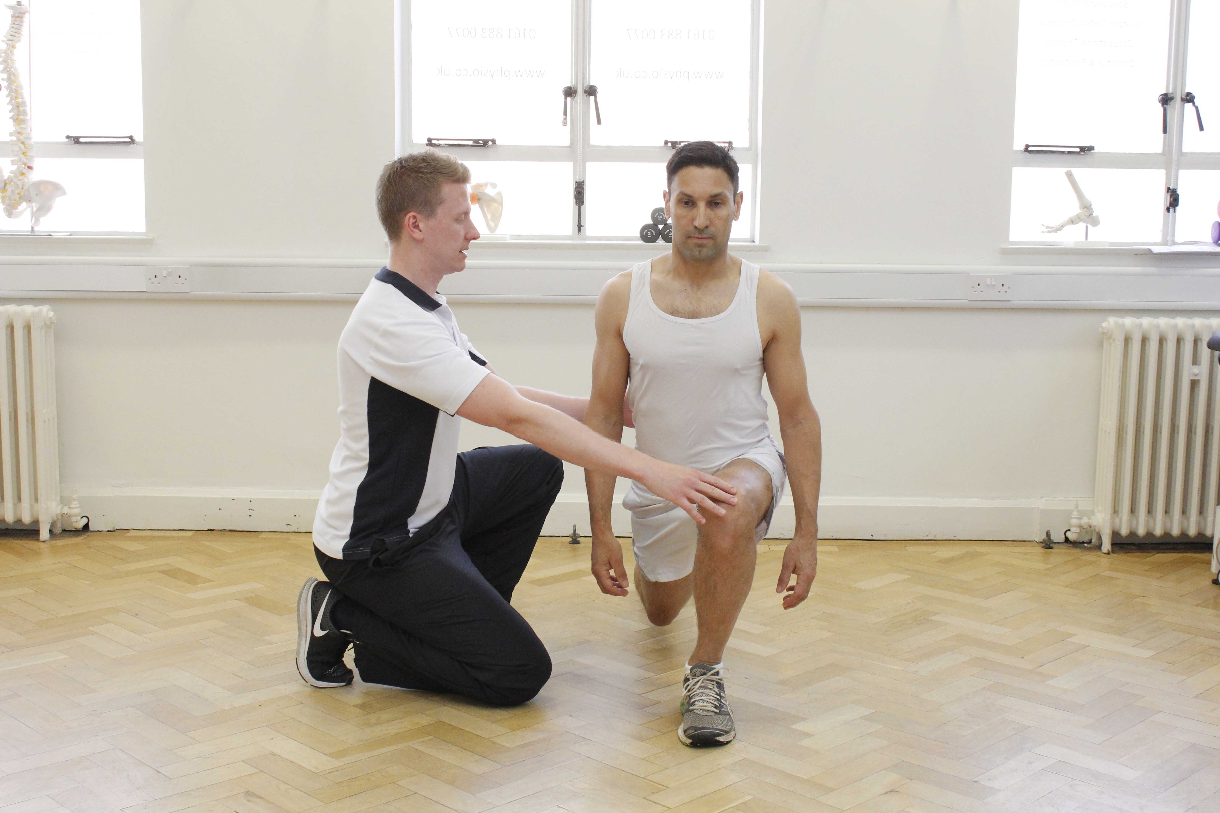 Sports rehabilitation exercises supervised by an experienced physiotherapist